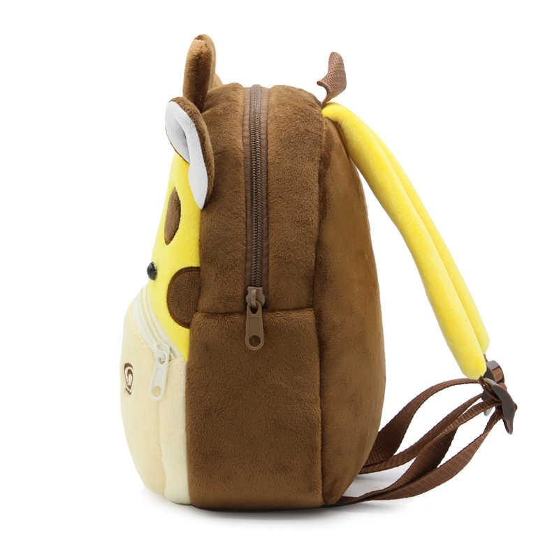 Mochila infantil de pelúcia 3d, mochila escolar para crianças, meninos e meninas, jardim da infância, mochila animal, 2020