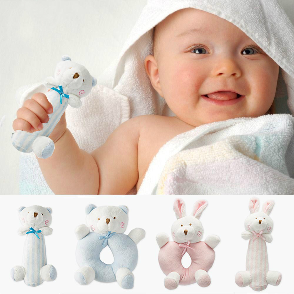 2pcs/ lot Baby Cartoon Rabbit Bear Plush Rattle Ring Bell Newborn Hand Grasp Toys Soft Mobile Infant Crib Dolls WJ582 ...