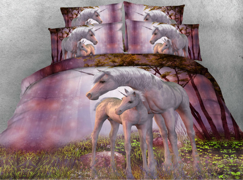 Jf088 Fancy Purple Color Unicorn Bedding Set 5pcs Unicorn