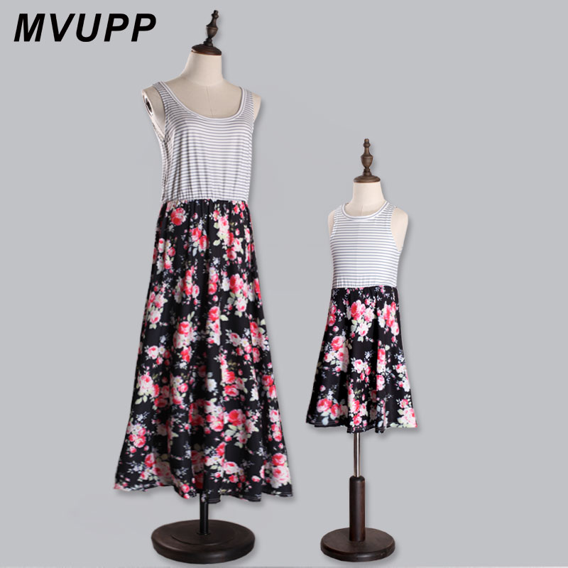 HTB1SPsXBOCYBuNkHFCcq6AHtVXa4 - MVUPP Mommy and me family matching mother daughter dresses clothes striped mom daughter dress kids parent child outfits look