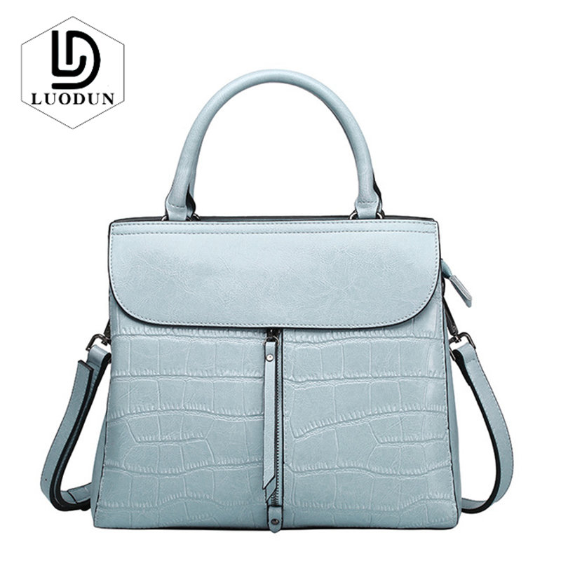 LUODUN Brand new cowhide handbag spring and summer Europe and the United States fashion stone pattern shoulder bag Messenger bag 2018 new europe and the united states stitching shoulder messenger bag spring and summer fashion personalized pu rivet handbags