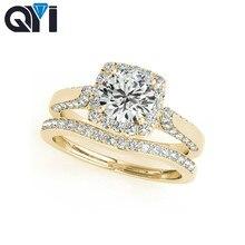 QYI 10K Halo Wedding Ring Sets Round Cut 1ct Sona Simulated