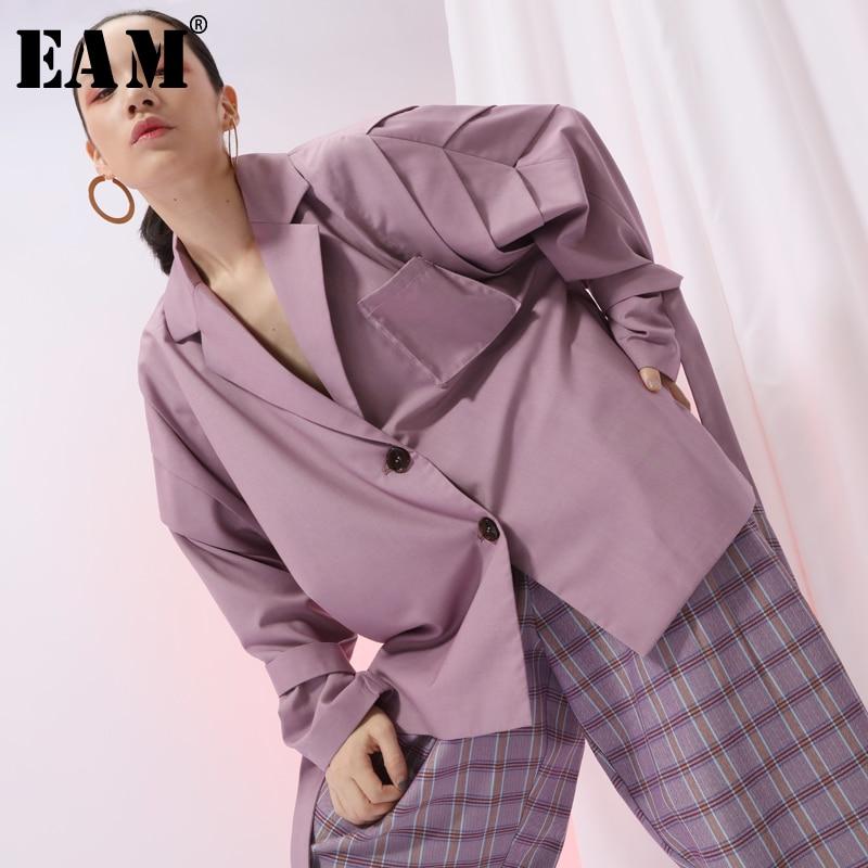 [EAM] 2019 New Spring Lapel Long Sleeve Apricot Loose Ribbon Stitch Large Size Jacket Women Coat Fashion Tide JI586