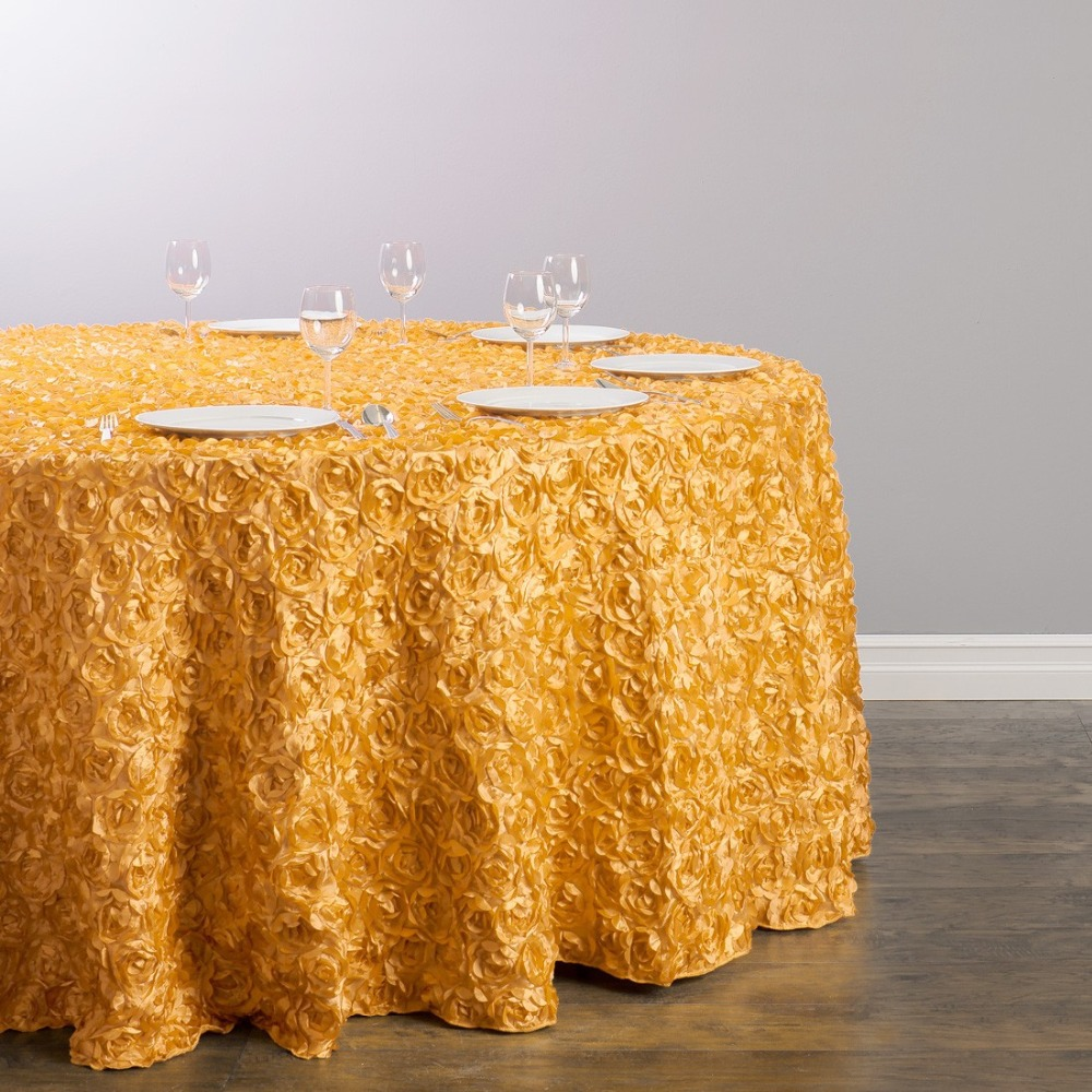 Custom Order Are Welcome Satin Feel 130 inch/330cm Polyester Round Rosette Tablecloth Gold for Ceremony Wedding, 5/Pack