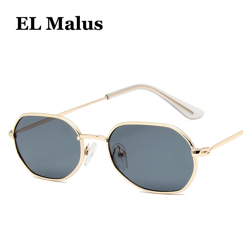 Independent small Thin Square Frame Sunglasses Women Mens Red Tan Lens Metal Shades Sexy Ladies Sun Glasses Brand Designer Oculos el Malus