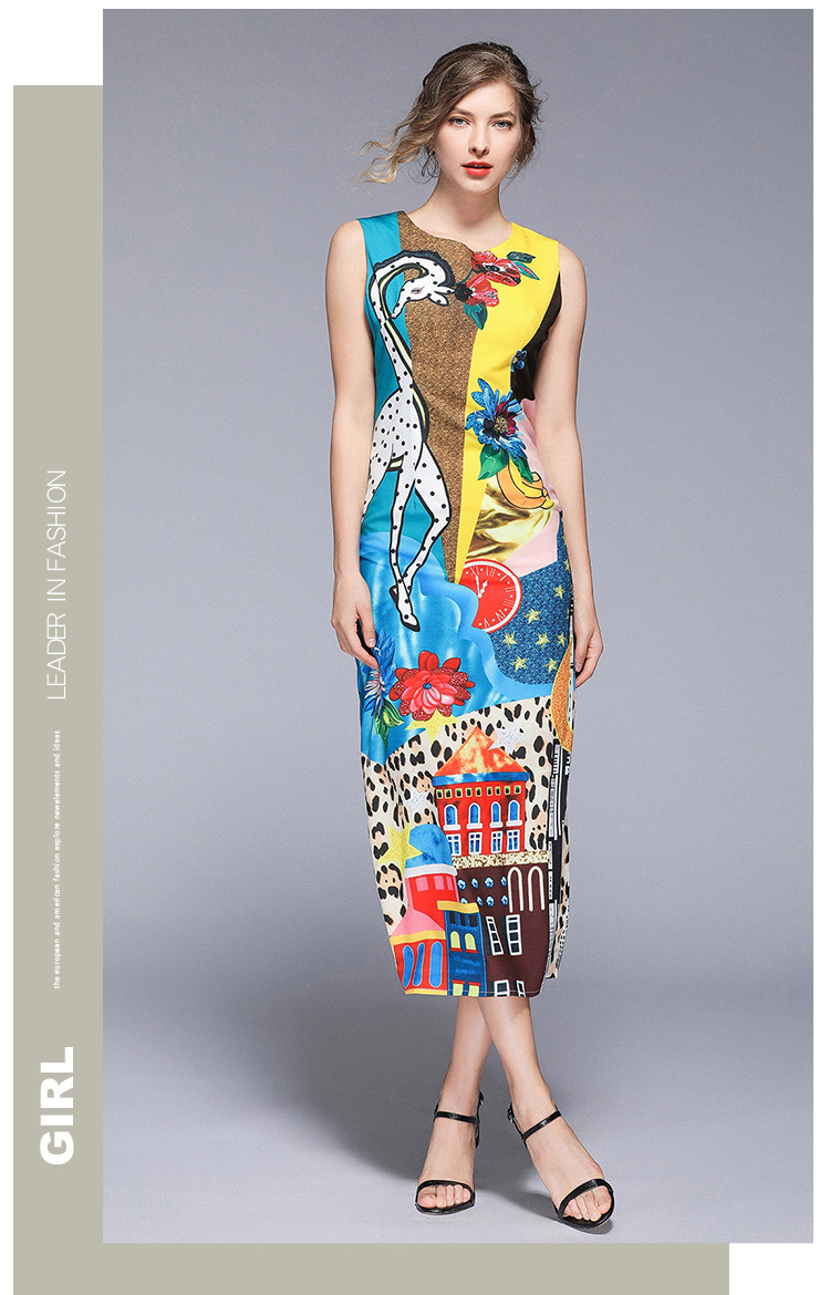 Print O-neck Sleeveless Mid-calf Straight Zippers Dress