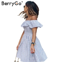 BerryGo Striped Off Shoulder Backless Short Dress Casual Ruffle Hollow Out Sexy Dress Robe Women Beach