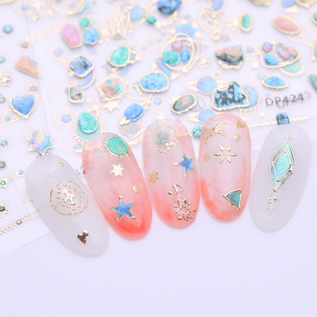 1 Sheet 3D Nail Art Stickers Mixed Colorful Star Moon Mixed Patterns DIY Design For Nail Art Tips Decoration Decals Manicure
