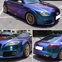 High Quality Chameleon Vinyl Film Wrap Bubble Free Purple blue Car Wrapping for car body 152cm*2000cm/volume free shipping