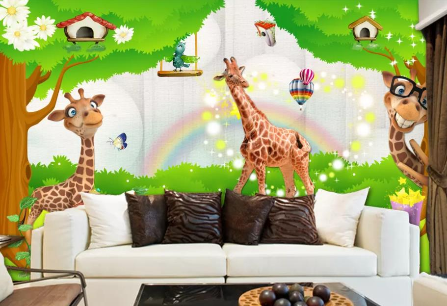 Us 14 1 53 Off 3d Wallpaper Mural Wall Painting Cartoon Giraffe Animal Park Cartoon Children S Room Kids Room Mural Custom Photo Wallpaper In