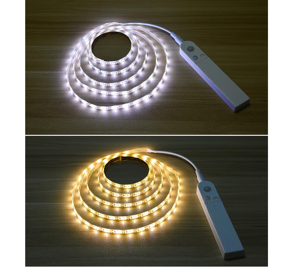 HTB1SPtIdkfb uJjSsrbq6z6bVXa2 Smart Turn ON OFF PIR Motion Sensor & USB Port LED Strip Light Flexiable adhesive lamp tape For Closet Stairs Kitchen Cabinet