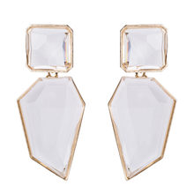 LUBOV 5Colors Geometric Crystal Stone Dangle Earrings Gold Color Metal Frame Drop for Women Birthday Gift Party Jewelry