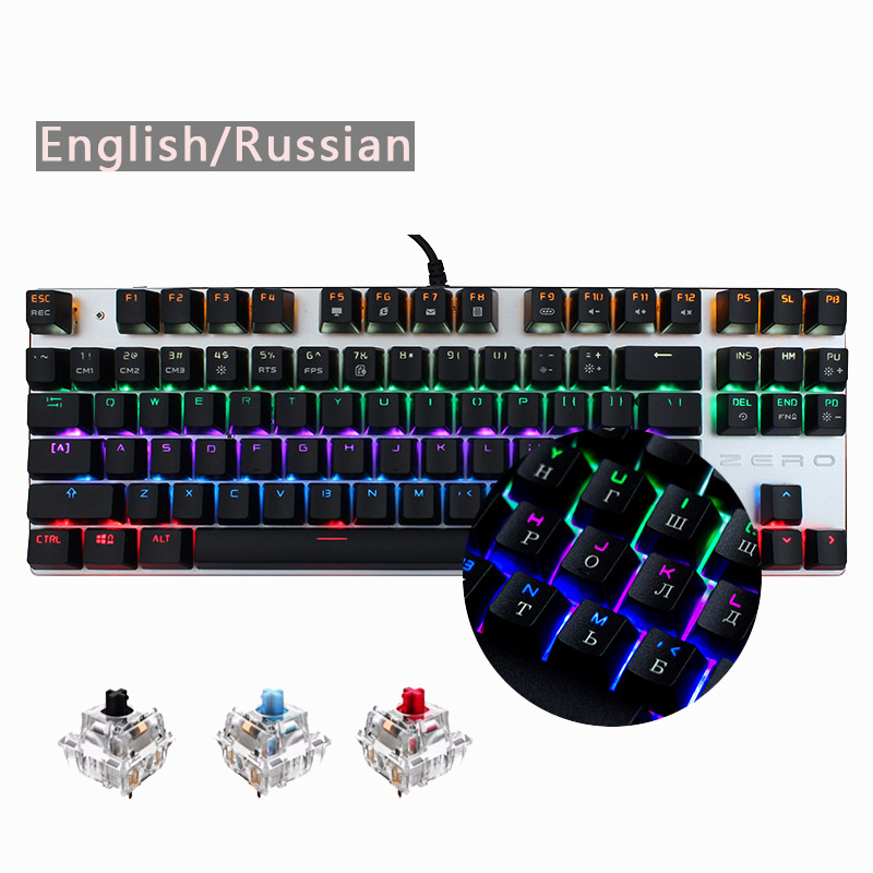Mich zu Gaming Wired Mechanische Tastatur 87/104 Key Blau Schalter LED Backlit Anti-Geisterbilder für Spiel Russisch/Englisch /spanisch layout