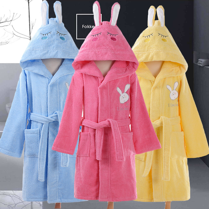 Hooded Bathrobe Kids Towel Child Boys Robe Cotton Lovely Bath Robes Dressing Gown Kids Sleepwear With Belts Christmas Gift