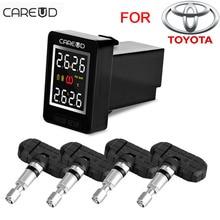 U912 con 4 sensores del coche incorporado careud tpms sistema de monitoreo de presión de neumáticos inalámbrica automática squar lcd monitor integrado para toyota