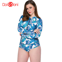 цена Daissioni Plus Size Sexy Print One Piece Swimsuit Long Sleeve Swimwear Women Bathing Suit 2019 One-piece Surfing Swim Suits 5XL онлайн в 2017 году
