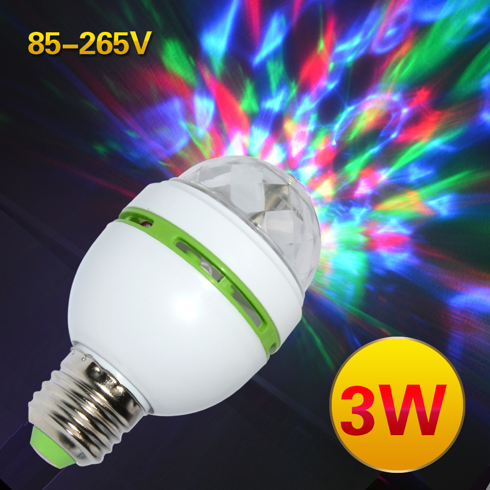 E27 3W Colorful Auto Rotating RGB LED Bulb Stage Light Party Lamp Disco for home decoration lighting lamps free shipping  Спиннер