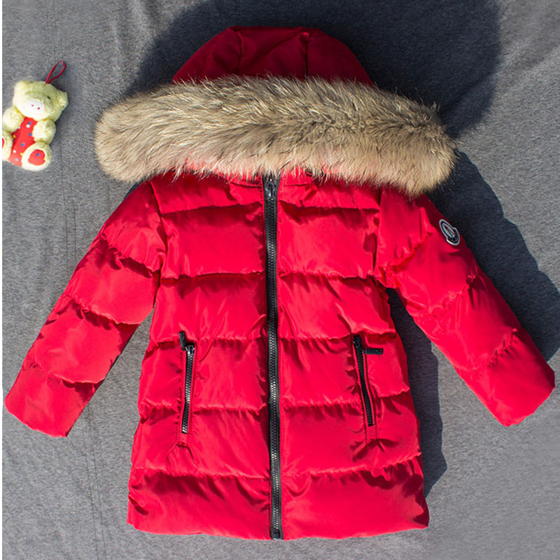 New Winter Children Duck Down Jacket Baby Kids Large Fur Collar Hooded Overcoat Girls Boys Solid Warm Jacket Kids Clothing Coat fur collar hooded girls duck down jackets children long patten coat kids thick warm snowsuit parka boys letter printed overcoat