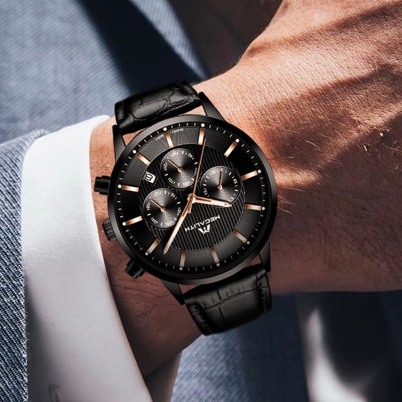 Image 4 - Megalith 腕時計メンズカジュアル防水クロノグラフアナログ腕時計本革クォーツ日付手首腕時計男 colck 8001クォーツ時計   -