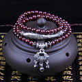 Tibetan rosary natural garnet stone long charm bracelets necklace with fish alloy beads and lock pendant prayer beads