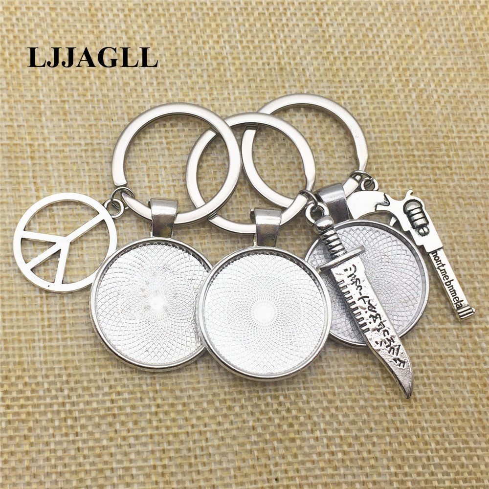 Key Chains Mixed 5pcs Knife Gun Charms Alloy Sword Pendant Keychain Fit 25mm Dia Flower Base Peace Key Ring Chain Diy Jewelry Make Aysq213 Elegant And Sturdy Package