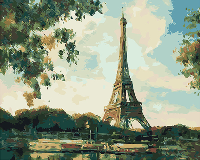 Diy Eiffel Tower Painting By Numbers Modern Landscap