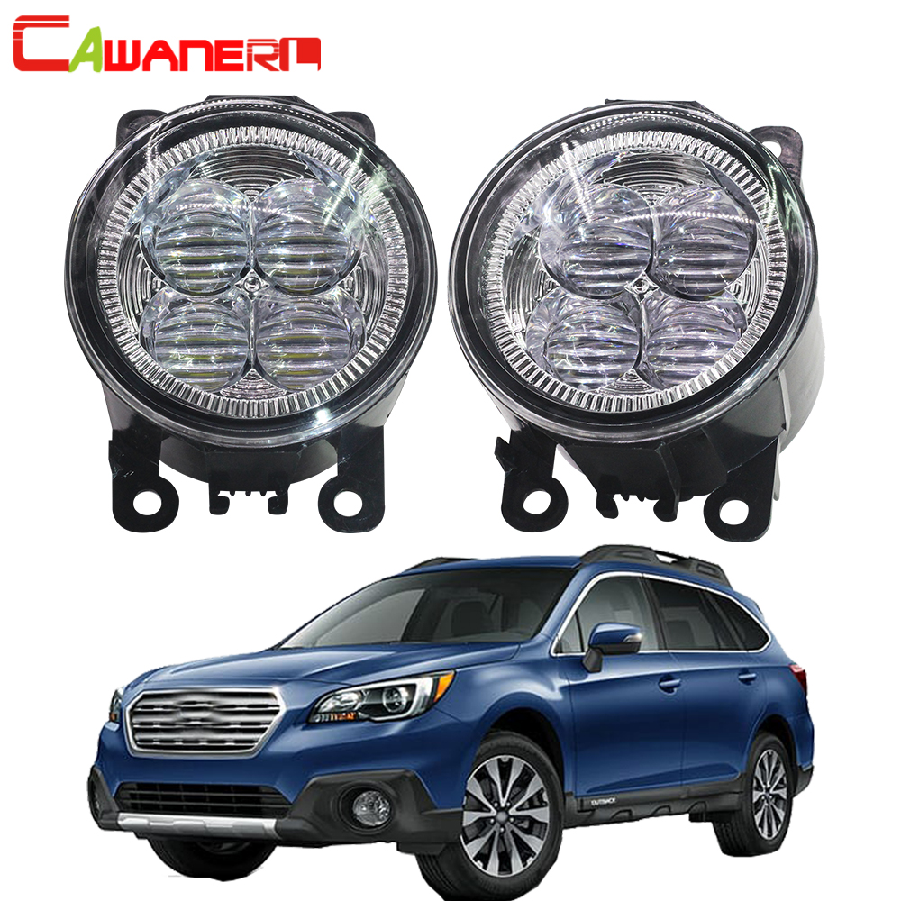Cawanerl 2 Pieces Car Accessories LED Lamp Fog Light Angel Eye DRL Daytime Running Light 12V For Subaru Outback 2010 2011 2012 cawanerl for honda insight 2010 2014 car accessories 2in1 led fog light drl daytime running lamp white 5000k 12v 2 pieces