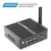 HYSTOU Quad Core N3160 Fanless Mini PC Windows 10 Dual NICS WIFI Linux Pfsense Router Firewall Server AES NI Supported i7 5550U