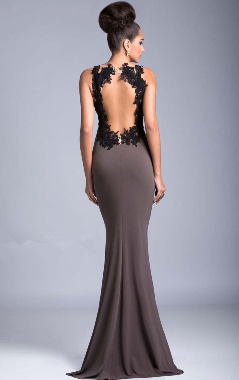 Sexy See Through Evening Side Open Slit Lace Appliqued 2018 Formal Party Gown Vestido de noche mother of the bride dresses in Mother of the Bride Dresses from Weddings Events