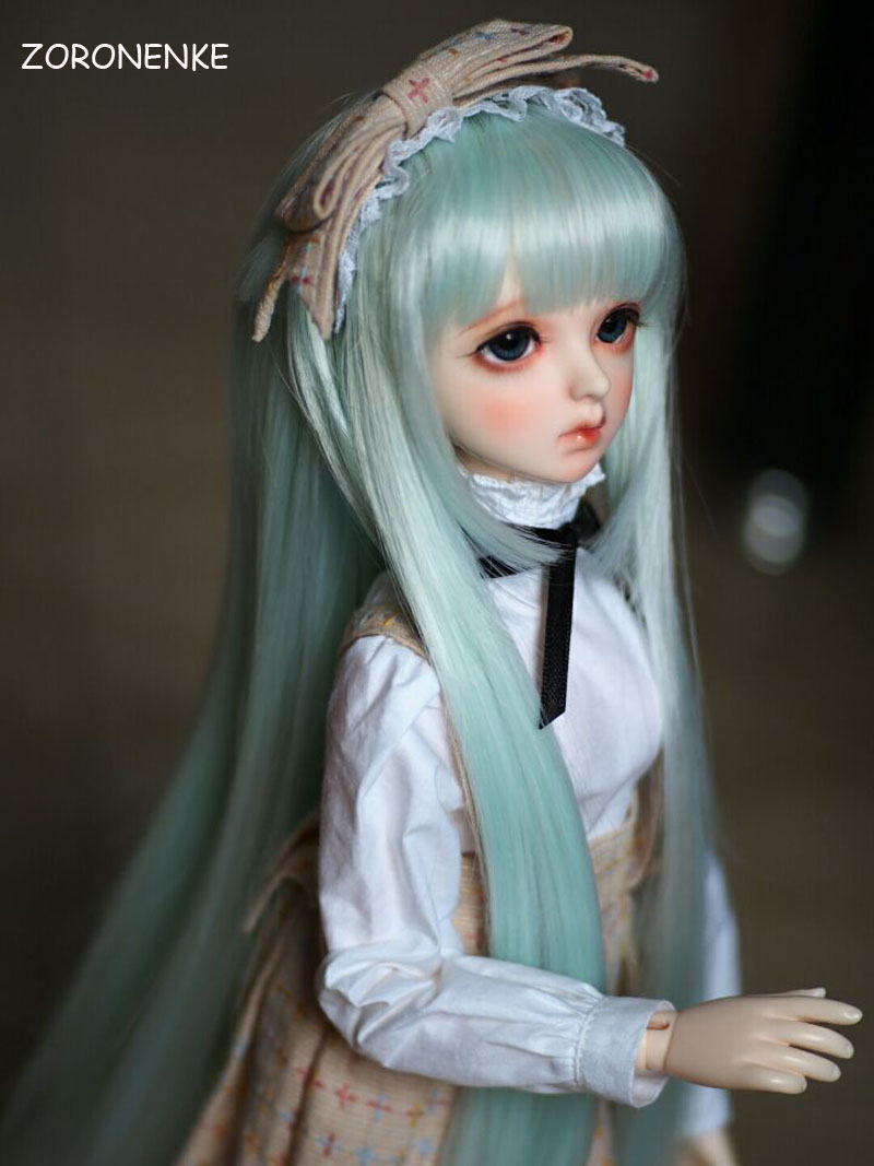 Lovely 1/3 1/4 1/6 Bjd Sd Doll Wigs High Temperature Wire Long Green Colors Synthetic Doll Wig For Dolls Accessories Fancy Colours