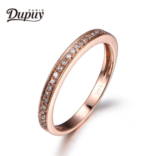 DUPUY 2018 Fashion Jewelry Unique Diamond Wedding Ring Half Eternity Solid 14K Rose Gold Ring Promise Band Bridal Band B0004D