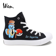 Wen Hand Painted Anime Shoes High Top Design Sir Squirtle Pokemon Pocket Monster Canvas Sneakers Female Male Skateboard Shoes