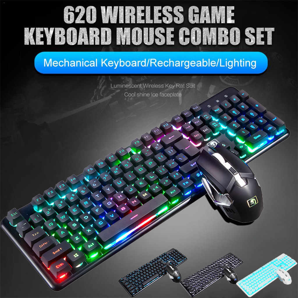 Voberry T5 2.4G Wireless Keyboard Mouse Set Rainbow Backlight USB Receiver Ergonomis Permainan Keyboard Rechargeable Keyboard Mouse