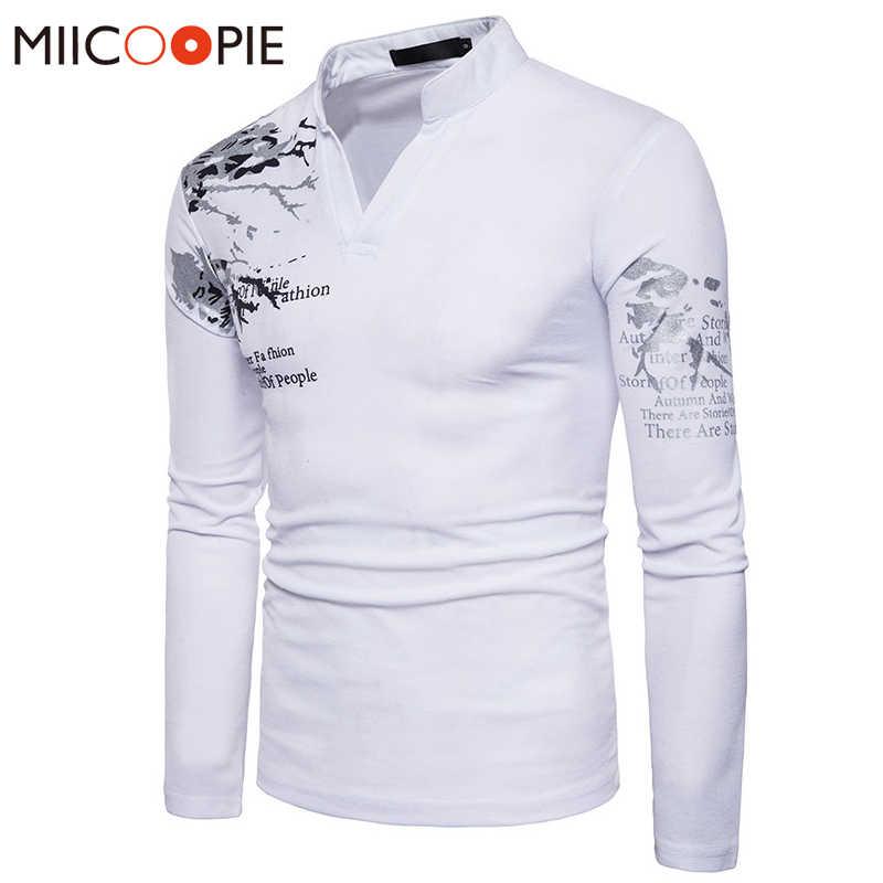 ブランドの服2018春男性カミーサポロファッションプリントロングスリーブ男性カジュアルスリムフィットスタンド襟ポロシャツシャツトップス& tシャツ