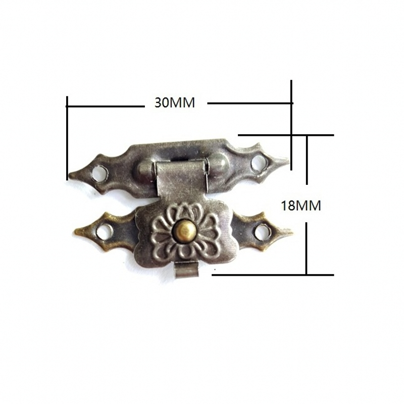 100pcs 30*18mm Antique Bronze Metal Buckles Latches Catches Wooden Gift Packaging Floret Jewellery Box Drawer Cabinet Door Fix 200pcs 18 15mm hinge brass bronze color flat wholesale small hardware for wooden box case cabinet drawer door funiture fix