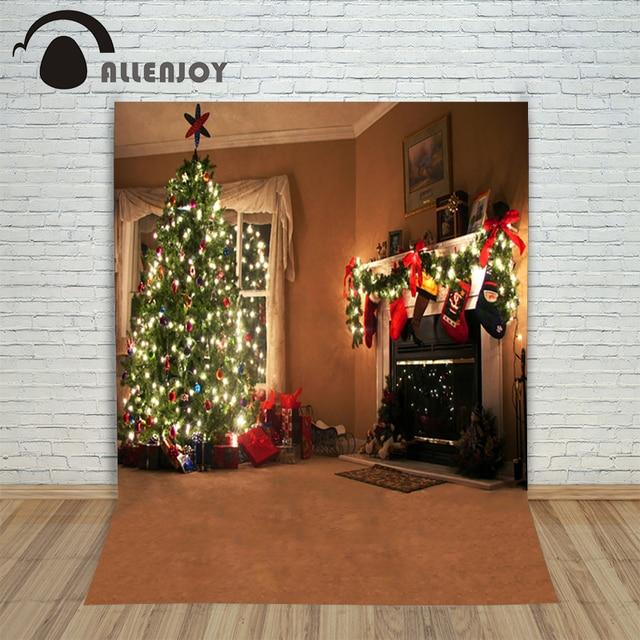 Allenjoy Photocal Christbaumschmuck Hintergrund Für Fotos Holz Kamin Vinyl  Glitter Foto Kulissen Für Fotografie