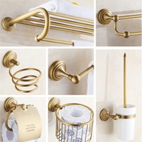 AUSWIND vintage soild brass bathroom accessories brush European Classical wall mount horn base bathroom hardware set