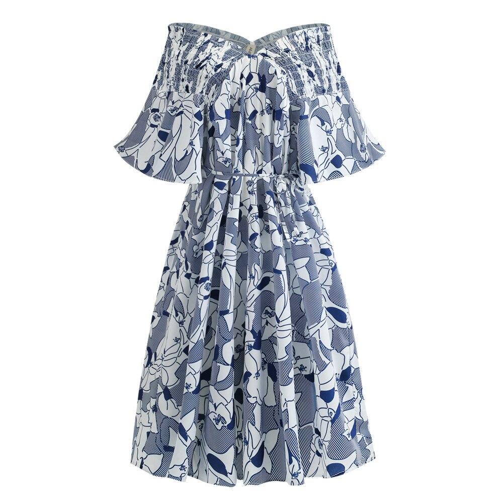 Summer Women Floral Print Chiffon Long Dress Elegant Vestido Slash Neck Cultivating Casual Bohemian Beach Dress Plus Size 5XL