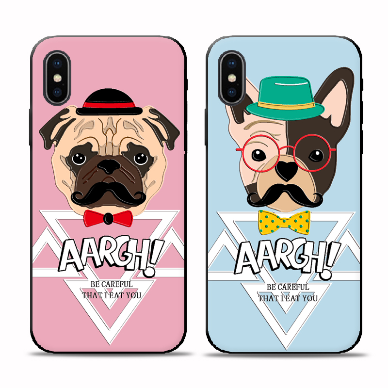 Luxury Cute Cartoon Animal Dogs Bulldog Case For iPhone 5S SE 6S 7 Plus Coque Soft TPU Silicone Cover For iPhone X 8 8 Plus Case