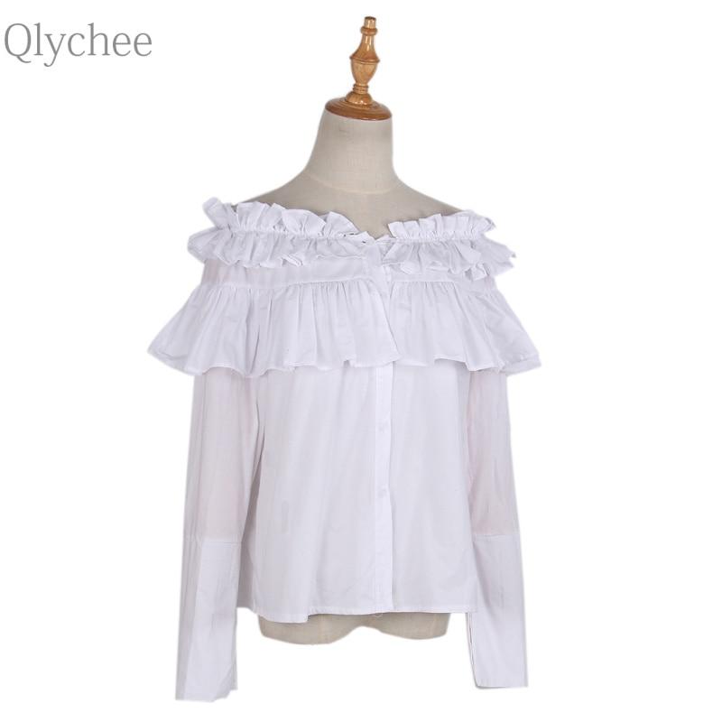 Qlychee Stap hombro de La Colmena de la Blusa Verano de Las Mujeres Atractivas d