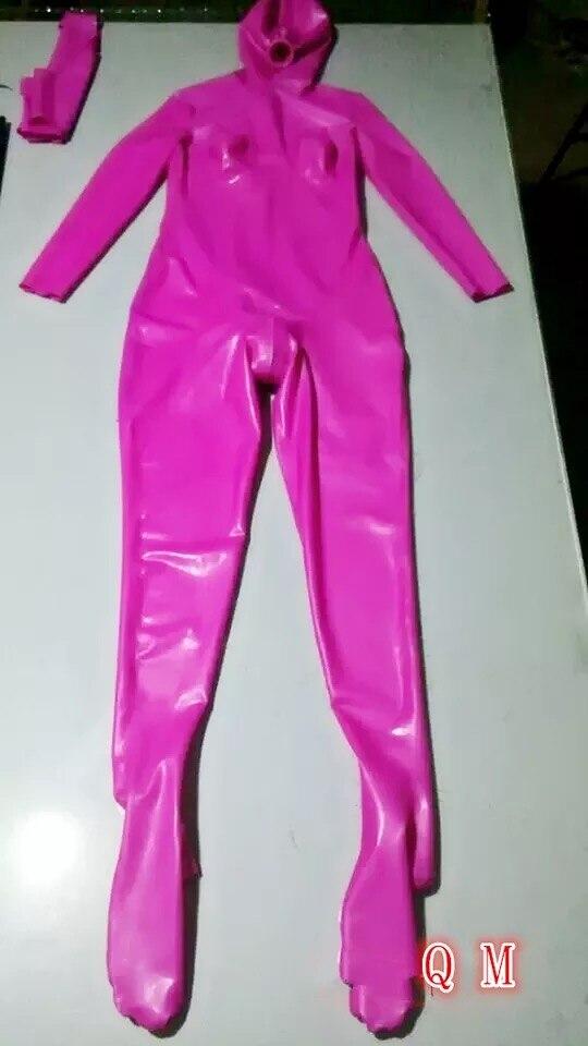 New Aarrival Latex Rubber Girls Full Bodysuit With Hood -5061