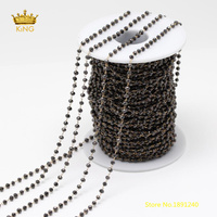 5Meters 2x3mm Gun Black Glass Faceted Rondelle Beads Chains Findings,Plated Brass Wire Wrapped Tiny Glass Chains Supplies ZJ152