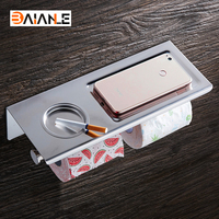 Stainless Steel Luxury Bathroom Toilet Paper Holder Bathroom Shelf 2 Roll Holder With Mobile Phone Storage
