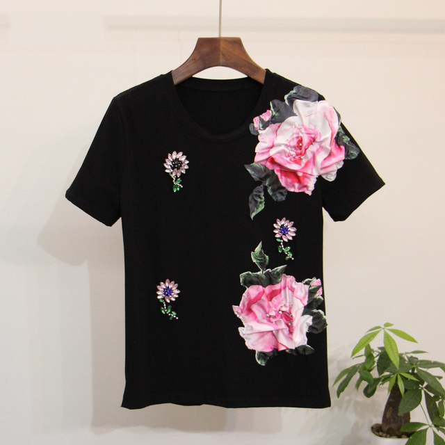 9578fba1db311 Sequin white t shirt Women beautiful floral sequined short -sleeve cotton  tops Femme tee shirts Crop tops