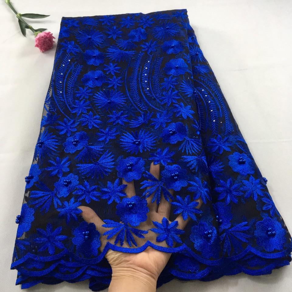 Azul Royal africano da tela do laço 2019 de alta qualidade laço francês tecido de malha frisado pedras nigeriano tecidos laço suíço para dressHX09