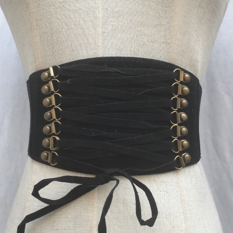 Hot Women ultra wide belt Elastic slim corset body shaper black retro Punk Tied Waist belt Cummerbund for lady girls