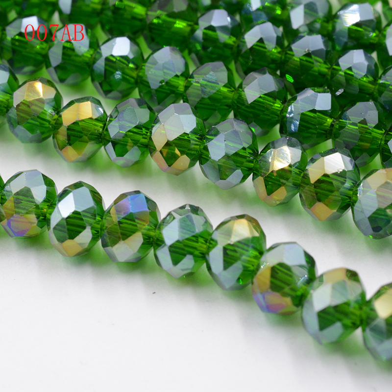 50//100Pcs AB Plated Faceted Czech Crystal Glass Round Loose Spacer Bead 4MM DIY