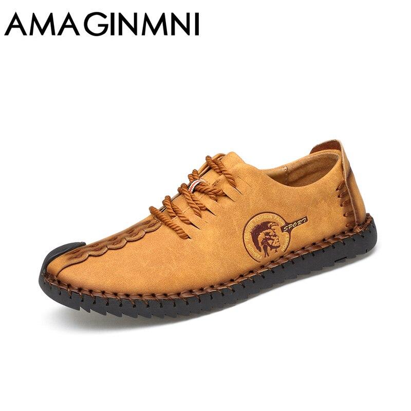 AMAGINMNI 2018 moda cómodos zapatos casuales mocasines hombres zapatos calidad Split zapatos de cuero hombres pisos venta caliente mocasines zapatos