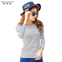 Slash Neck Undershirt Women Knitted Cotton T Shirt Spring Autumn Tee Shirt Long Sleeve Striped Casual