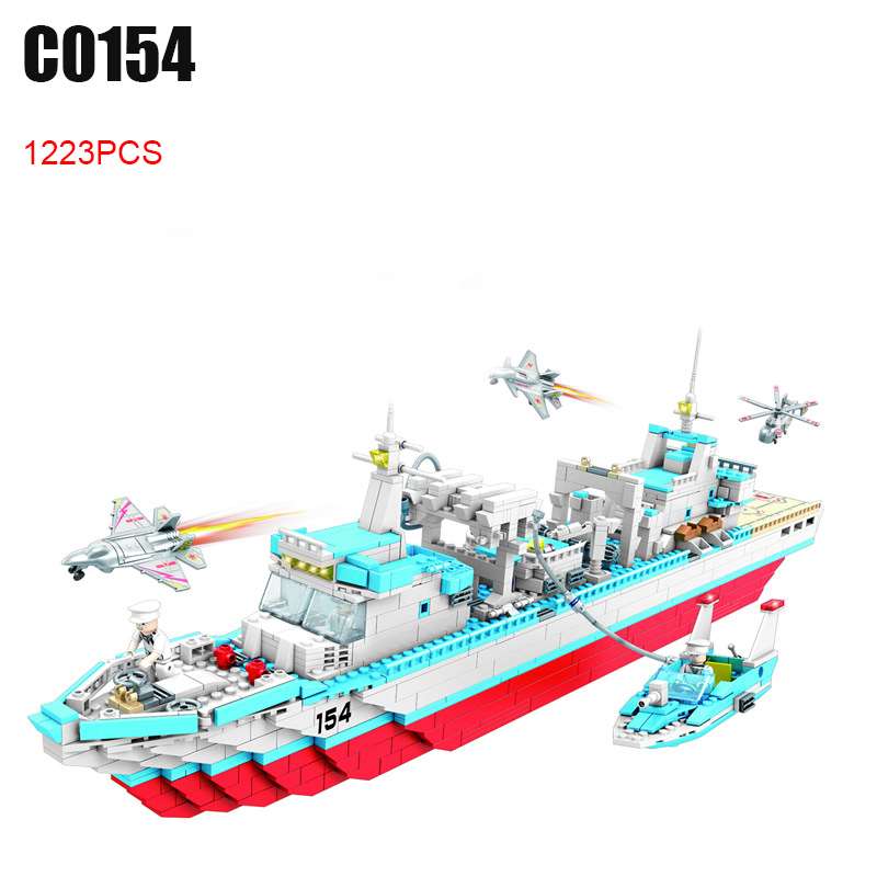 1223PCS C0154 Military series depot ship Building Blocks set Great Gift DIY Educational Funny Bricks Toys for Children